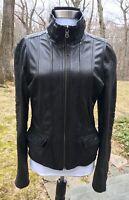 $375+ Koc Leather Zip Front Moto Jacket, Black, Women's Large L Best 5'7+