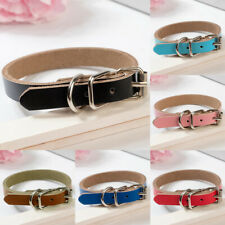 Strong Leather Dog collar | Pet Cat Puppy | Black Blue Pink Red | Four Sizes