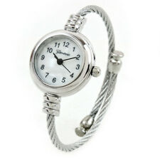 Silver Metal Cable Band Geneva Ladies Petite Bangle Cuff WATCH