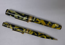 A8 Wahl Eversharp Black Pearl Fountain Pen and Pencil Deco Band ? Gold Seal