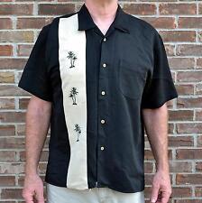 Cubavera Camp Shirt Black & Tan Embroidered Palm Trees Cigar Cuban Rockabilly XL
