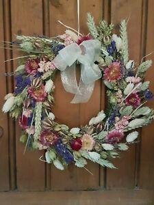 "Natural Handmade Dried Flower Wreath 12"" with Organza Cream Bow"