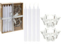 Boxed Dinner 6 PIECE Set- 4 WHITE Candle & 2 GLASS Candle Holder Christmas Table