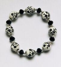 Stunning Black Ceramic & Ab Italian Crystal Beads Bracelet