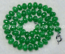 "Green 6X10mm Faceted Emerald Rondelle Gems Beads Necklaces 18"" JN737"
