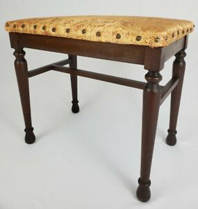 Vintage Vanity Piano Bench Walnut Silk Upholstered Tacking Thomasville Chair Co