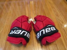 "Used Bauer Vapor 1X Pro Stock New Jersey Devils 14"" Hockey Gloves! MeiGray"