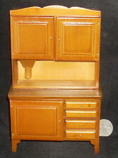 Flour Bin / Hutch Kitchen Shelves Storage #T6107 1:12 Walnut Dollhouse Miniature