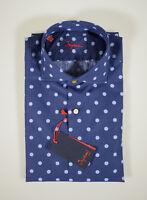 Camicia moda Ingram slim fit Blu a pois in puro cotone lavato collo francese