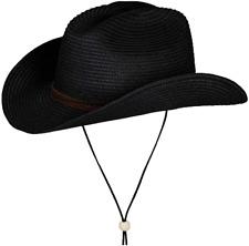 Straw Cowboy Hat,Summer Beach Panama Sun Hats Men  Women Western Wide Curved Br