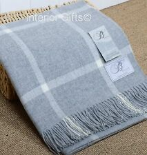 Beautifully*SOFT* BRONTE Lambswool SILVER GREY & CREAM CHECK THROW Pure New Wool