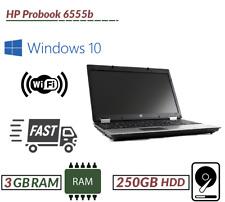 "Laptop P Barato Windows 10 HP Probook 6555b AMD Turion 3GB 250GB cámara web de 15.6"" UK"