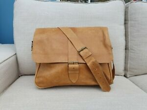 Handmade Brown Tan Leather laptop bag - made in Ethiopia, Africa