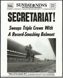 "1973 - SUNDAY NEWS - SECRETARIAT! Wins Belmont Stakes - 8"" x 10"""