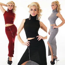 Women's 2 piece knitted business dress Crop Polo neck Top and Midi Skirt HOT
