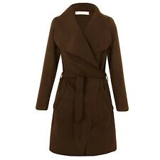 Womens Plus Size Italian Long Waterfall Belted Long Sleeve Coat Jacket 16 to 24