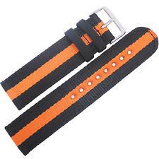 22mm Hadley-Roma MS4400 Orange Black Stripe Two-Piece Nylon MoD Watch Band Strap