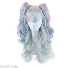 Women Long Curly Hair Wig 2 Ponytails Roromiya Karuta Cosplay Gradient Rainbow