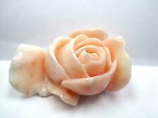 Antique Lds Coral Salmon Colored 1- Big Flowers Carved Piece. 14.55 Grams.