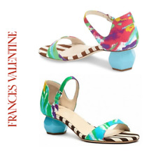 Frances Valentine Bella Ankle Strap Sculpted Mid Heel Sandal Green sz 6.5   $475