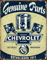 Chevrolet - Chevy Genuine Parts Pistons Rustic Retro Metal Tin Sign 13 x 16in