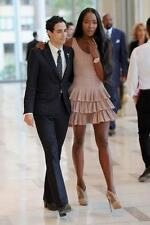 ALAIA NWT Mauve Dusty Pink Full Tiered Skirt Dress W/ Ruffles Fr 40 2/4/6