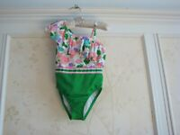 NWT Janie And Jack Girls Floral Color-Block Swimsuit  4 4T