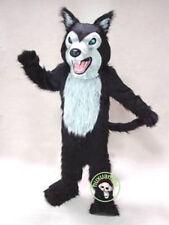 Cute Professional Long Fur Black Wolf Mascot Costume Fox Dog Adult Suit Unisex