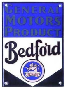 Bedford A GM Product vitreous enamelled steel badge 140mm x 100mm (wm)