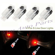 4x Sline Logo Laser Projector LED Door Car 3D Shadow Light For Audi A4 A6 A8 Q7