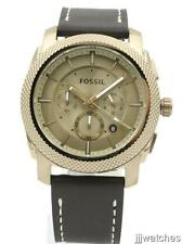 New Fossil Men Machine Rose Gold Brown Leather Chrono Watch 46mm FS5075 $155