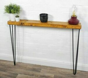 Console Table Slimline - Black Hair Pin Legs | Reclaimed Timber | Wood Furniture