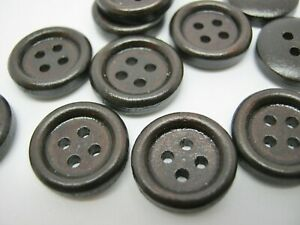 """10 Small Dark Brown Buttons 12mm (1/2"""") Wood Shirt Sewing Buttons"""