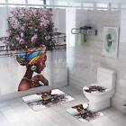 4Pcs/Set Bathroom Non-Slip  Cover Bath Mat Shower Curtin Decor