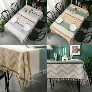 Vintage Tablecloth Jacquard Tassel Table Cloth Cover Dinning Party Home Decor