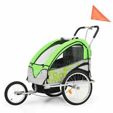 vidaXL 2-in-1 Kids' Bicycle Trailer & Stroller Green and Grey Bike Jogger