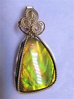 Natural Canadian Ammolite Gemstone Pendant Slide Wire Wrapped in 14K Gold Filled
