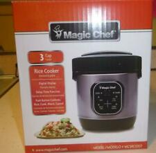 Magic Chef MCSRC03ST 3 Cup Mini Stainless Steel Rice Cooker Non-Stick Cook Pot