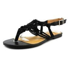 Sandalias y chanclas de mujer de tacón bajo (menos de 2,5 cm) de color principal negro de lona
