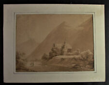 antikes Aquarell/Zeichnung  Gebirgslandschaft mit Kirche - signiert W. KOBELL