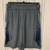 Tek Gear Mens M Basketball Shorts Gray Blue Pockets Drawstring Elastic Waist