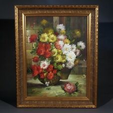 """Oil Painting on Canvas with Frame, """"Bouquets of Flowers"""", Signed, 29 x 23 inches"""