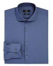 $295 HUGO BOSS Men SLIM-FIT EASY IRON BLUE LONG-SLEEVE DRESS SHIRT 16.5 - 42