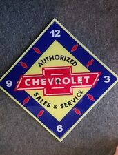 "*NEW* 15"" DIAMOND CHEVY CHEVROLET SALES & SERVICE GLASS FACE PAM CLOCK"