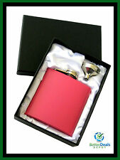 6oz STAINLESS STEEL HIP FLASK + FUNNEL (PINK) *** Brand New ***
