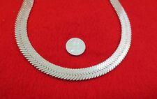 "12Mm Magic Flex Herringbone Chain-Lifetime Warranty 14 Kt White Gold Ep 24"""