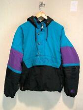 VINTAGE 90's Starter S1 Insulated Hooded Parka Jacket MEDIUM Blue Zip Pockets