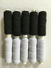 Black Assorted /& Lurex Colours Shirring Elastic White 20m spools