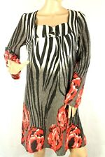 Sacred Threads Women's Dress Floral Animal Print Gray And Black Size Small
