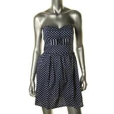 BE BOP Women's $49 NAVY BLUE WHITE POLKA DOT SMOCK STRAPLESS DRESS JUNIORS S NWT